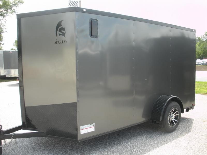 "Due in Spring 2021 *2021 Spartan 6' X 12' Charcoal w/ ""Black Trim Pkg."" & Motorcycle Pkg. Enclosed Cargo Trailer"