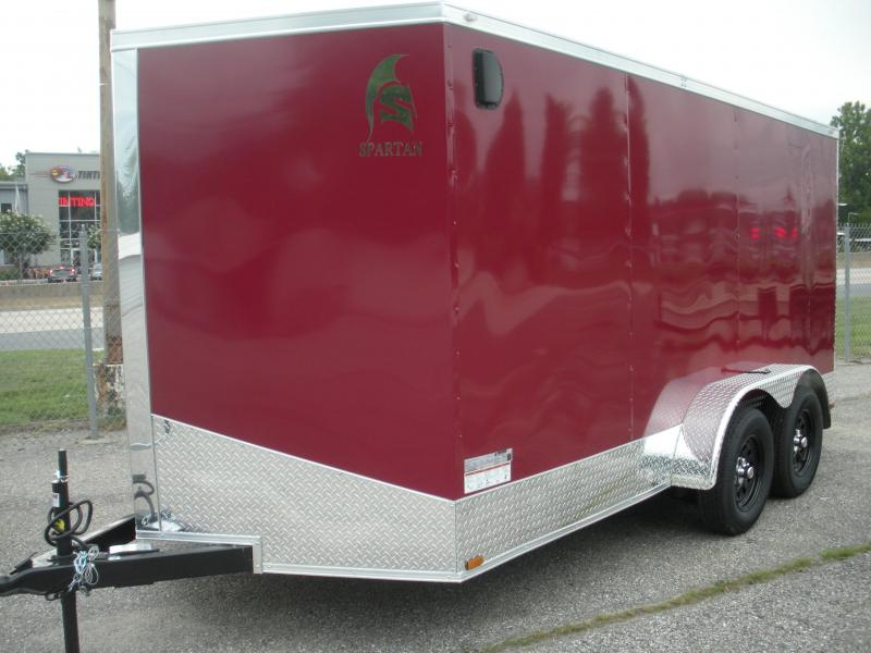 "2021 Spartan 7' X 14'  Burgundy.030 Metal-12"" Aluminum Tread Plate Sides and Rear-Aluminum Tread Plate Rear Corners-Chrome Caps-4 D Rings in Floor  Enclosed Cargo Trailer"
