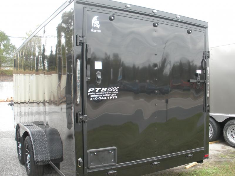 "2020  Spartan 7' X 16' Black w/ ""Black Trim Pkg."" & Motorcycle Pkg. Enclosed Cargo Trailer"