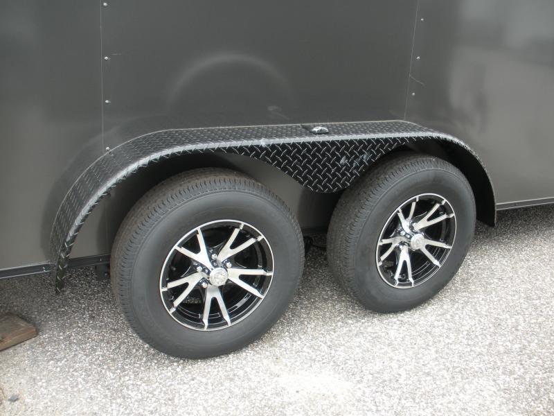 """2020  Spartan 7' X 16' Charcoal w/ """"Black Trim Pkg."""" & Motorcycle Pkg. Enclosed Cargo Trailer"""
