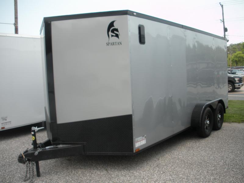 "2021  Spartan 7' X 16' Silver w/ ""Black Trim Pkg."" & Motorcycle Pkg. Enclosed Cargo Trailer"