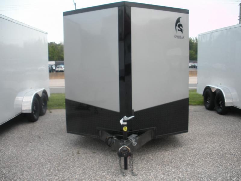 "IN STOCK *2021  Spartan 7' X 16' Silver w/ ""Black Trim Pkg."" & Motorcycle Pkg. Enclosed Cargo Trailer"
