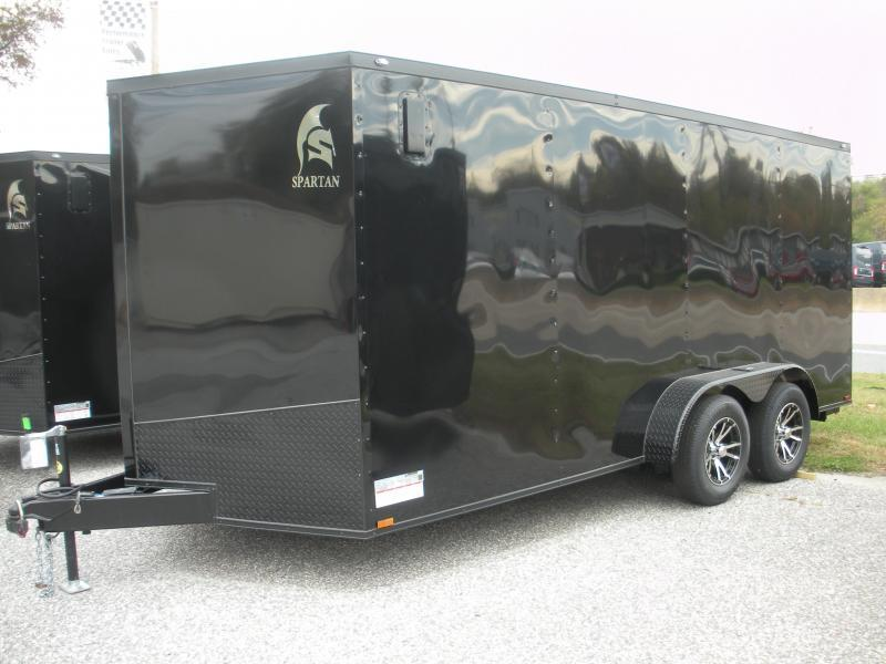 "IN STOCK! *2021  Spartan 7' X 16' Black w/ ""Black Trim Pkg."" & Motorcycle Pkg. Enclosed Cargo Trailer"