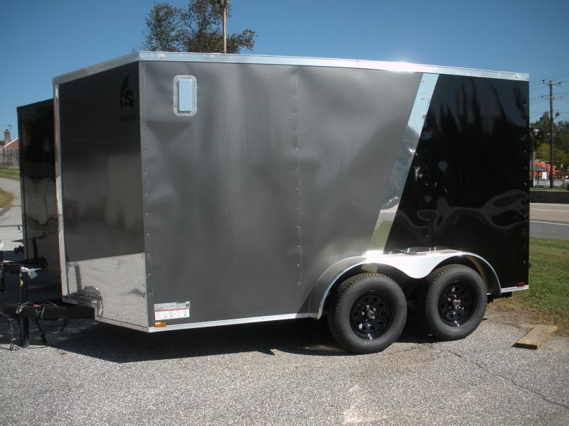 """In Stock *2021  Spartan 7' X 12' X 6'6"""" Charcoal and Black *4 D Rings *2 Way Side Vents *Stabilizer Jacks Enclosed Cargo Trailer"""