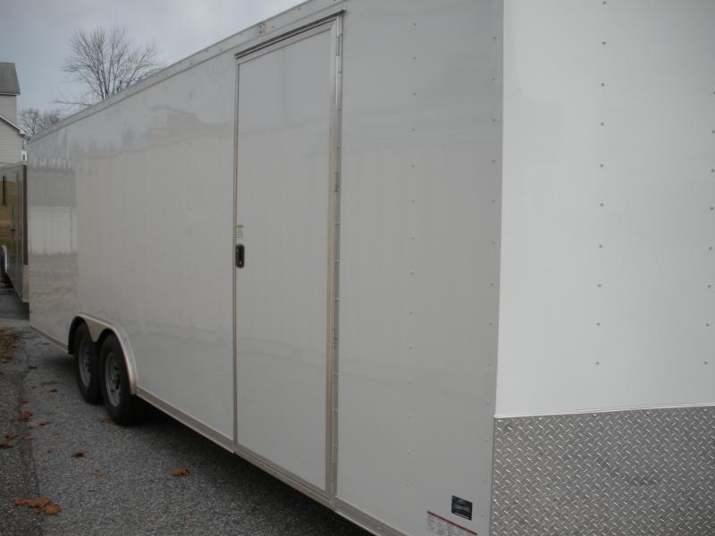IN STOCK* 7' Height-SEMI-SCREWLESS*WHITE*2021 8.5' X 24' 10K Car / Racing Trailer