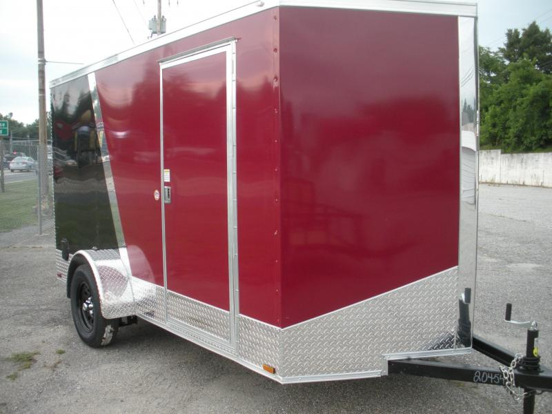 "Due in Spring 2021 *2021 Spartan 6' X 12' 3K Burgundy/Black .030 Metal-12"" Aluminum Tread Plate Sides and Rear-Aluminum Tread Plate Rear Corners-Chrome Caps-4 D Rings in Floor Enclosed Cargo Trailer"