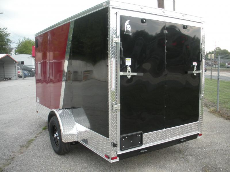 "2021 Spartan 6' X 12' 3K Burgundy/Black .030 Metal-12"" Aluminum Tread Plate Sides and Rear-Aluminum Tread Plate Rear Corners-Chrome Caps-4 D Rings in Floor Enclosed Cargo Trailer"