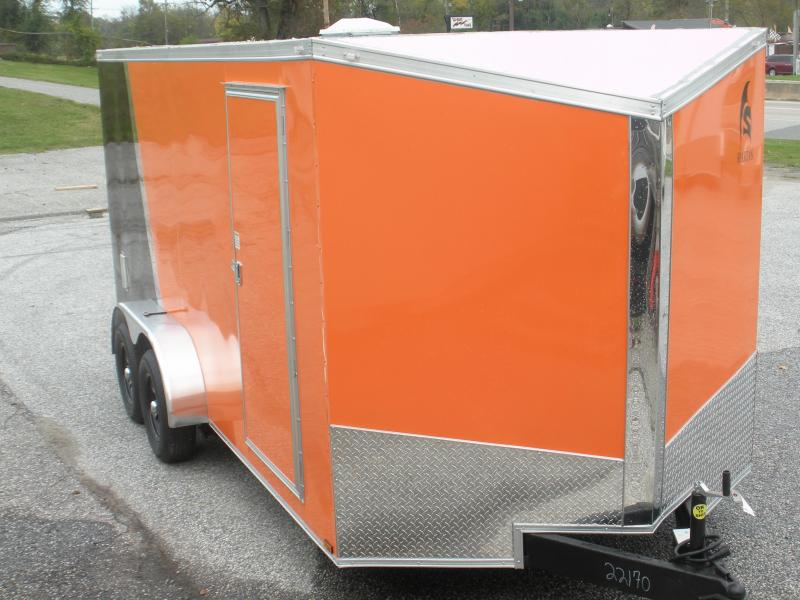 2021 Spartan 7' X 16' *030 Orange & Black*Spider Mag's*2 Way Alum Side Vents*Therma Ply Ceiling;6 D Rings*4' Striplight* Enclosed Cargo Trailer