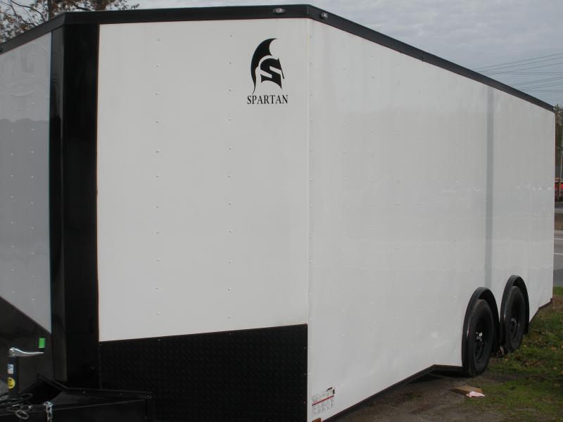Due in Spring 2021 *2021 Spartan 8.5' X 20' X 7' Height 7K Split Torsion Axle White/ Black Trim Car / Racing Trailer