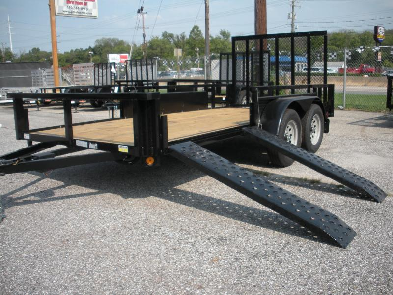 "2021 Quality Steel and Aluminum 74"" X 14' 7K ""ATV Ramps"" Utility Trailer"