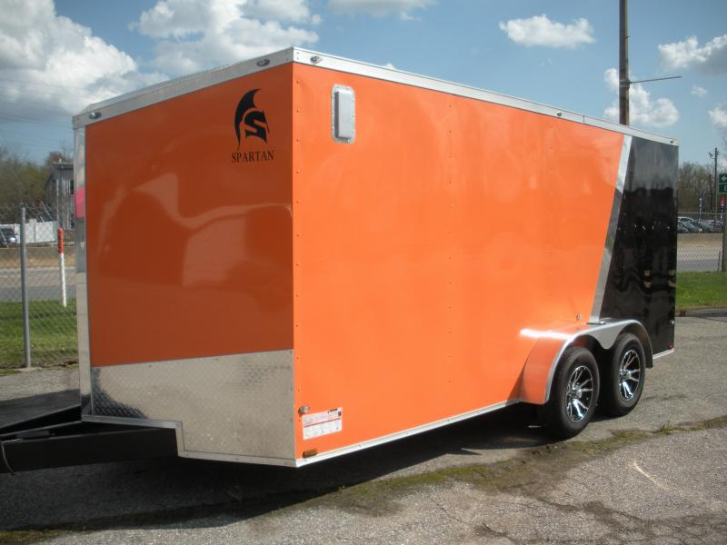 "2020 Spartan 7' X 16' *030 Orange & Black*4"" Tube Crossmembers*16"" O.C. Roof Bows*Slanted V Nose;60"" Triple Tube Tongue*Spider Mag's*2 Way Alum Side Vents*Therma Ply Ceiling;4 D Rings Enclosed Cargo Trailer"