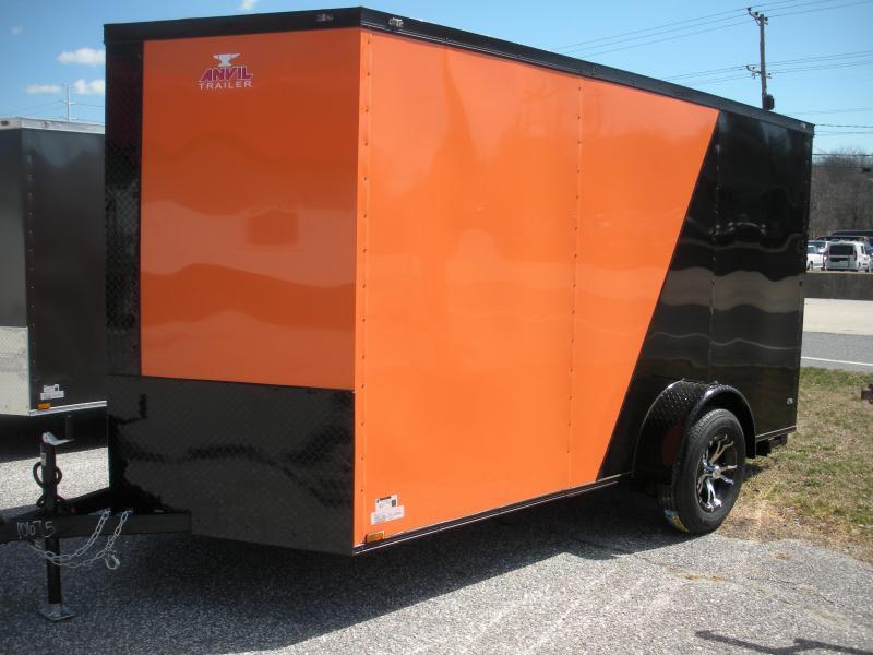 "2021 Anvil 6' X 12' Enclosed ""BLACKOUT"" 2 Tone with Orange Cargo Trailer"