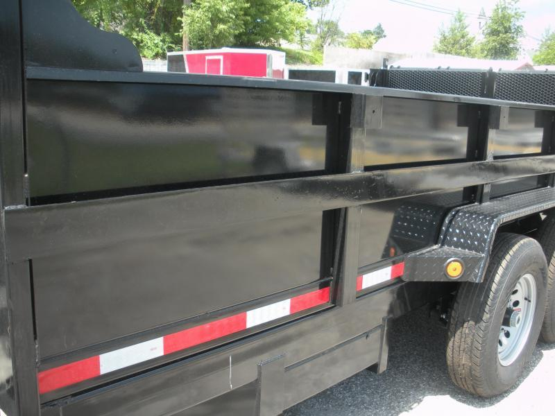 "CURRENTLY IN STOCK NOW! 2021 Quality Steel and Aluminum 83"" X 14' 14K *Dual Rams*Stabilizer Legs*Power Up & Down*Slide Out Ramps*Dump Trailer"