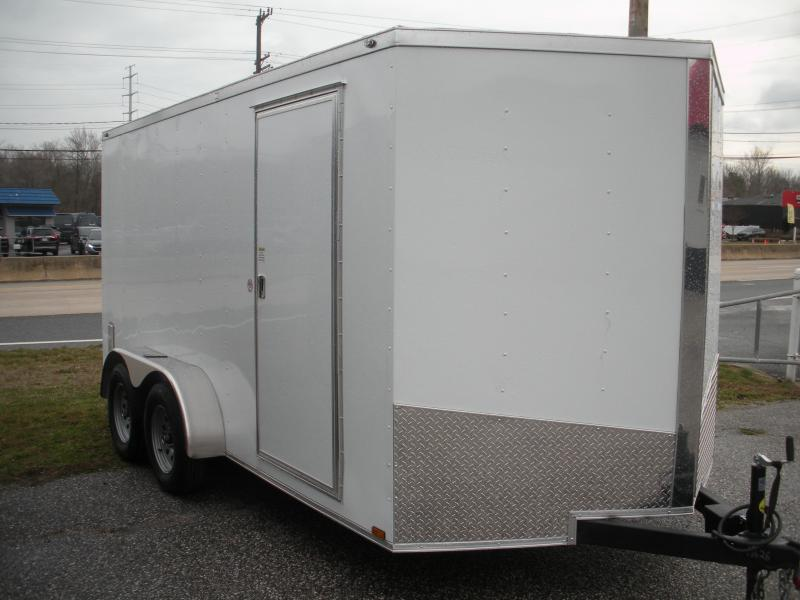 2020 Spartan 7' X 14'  White *6 D Rings* 2 Way Aluminum Side Vents Enclosed Cargo Trailer
