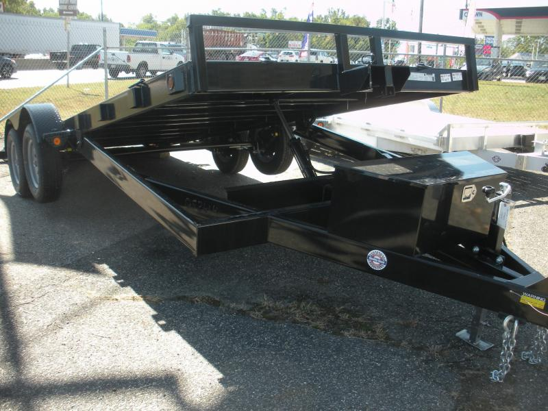 "2021 Quality Steel and Aluminum 83"" X 18' 7K Steel Deck Power Up & Down Open Car / Racing Trailer"