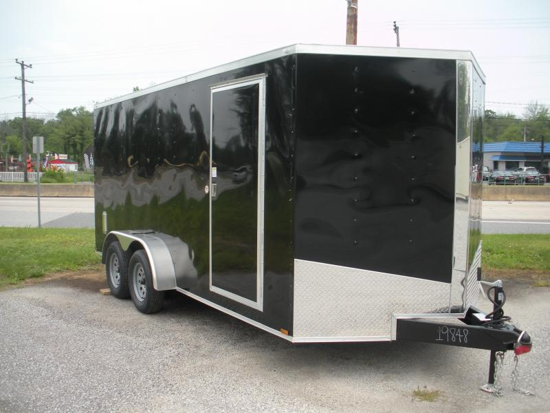 "SOLD* More on the Way* ""HOT DEAL"" 2020 Spartan 7' X 16' Black  *6 D Rings* 2 Way Aluminum Side Vents Enclosed Cargo Trailer"