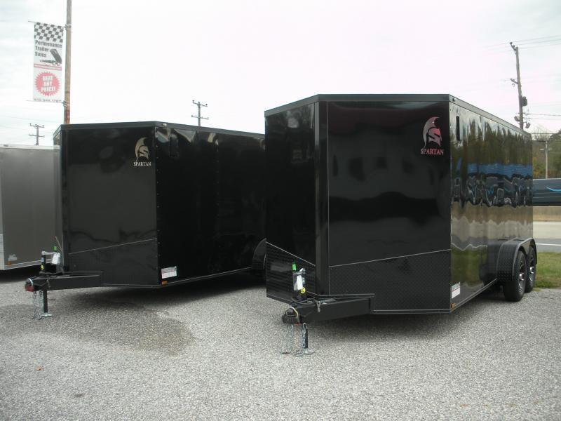 """OUT of Stock* More Due In* """"HOT DEAL"""" 2020  Spartan 7' X 16' Black w/ """"Black Trim Pkg."""" & Motorcycle Pkg. Enclosed Cargo Trailer"""