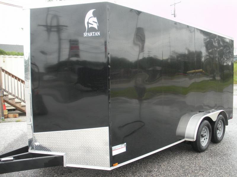 "2021 Spartan 7' X 16' *Screwless .030 Black Metal*7' Interior*60"" Triple Tube Tongue* Enclosed Cargo Trailer"