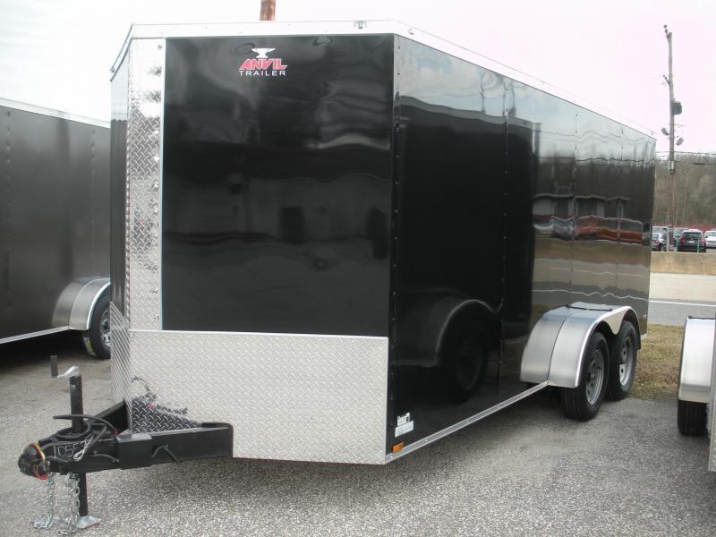 """HOT DEAL"" 2020 Anvil 7' X 16'  Black Enclosed Cargo Trailer"