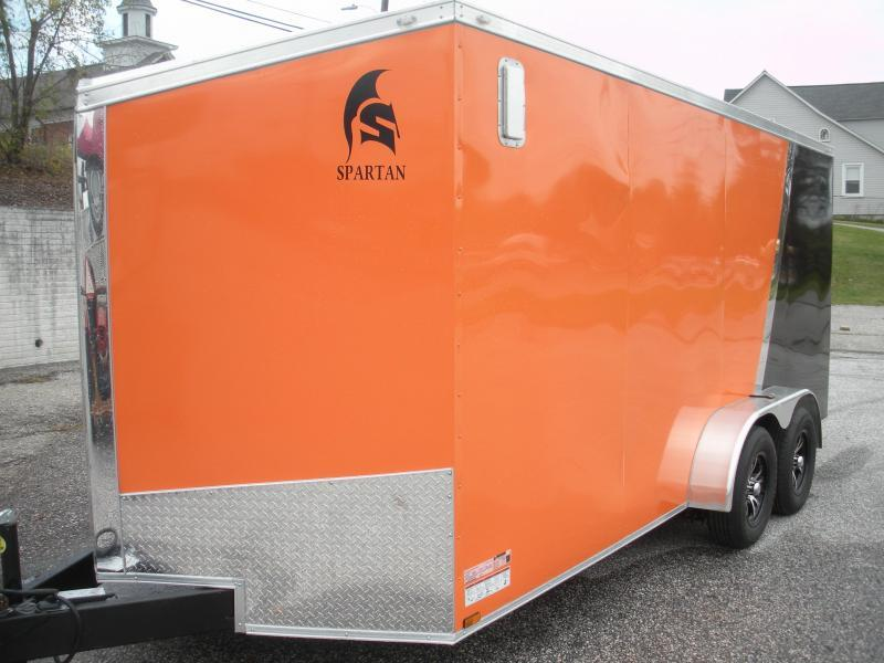 In Stock Now! 2021 Spartan 7' X 16' *030 Orange & Black*Spider Mag's*2 Way Alum Side Vents*Therma Ply Ceiling;6 D Rings*4' Striplight* Enclosed Cargo Trailer