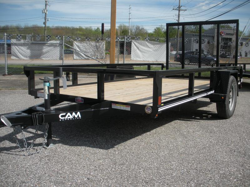 "2020 Cam Superline 72"" X 12' Utility Trailer 3K Single Axle with Tubular Railings"