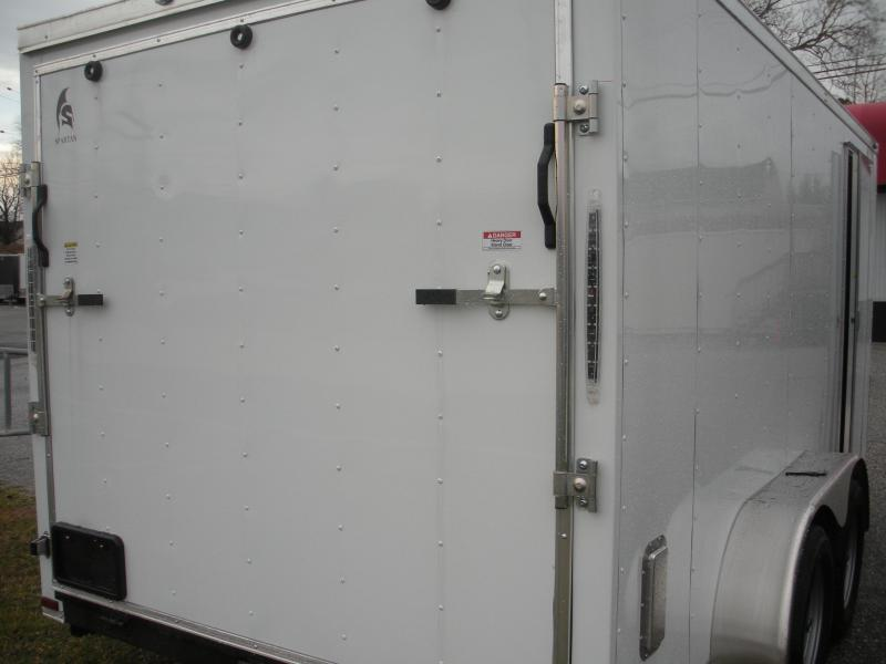 """HOT DEAL"" 2020 Spartan 7' X 14'  White *6 D Rings* 2 Way Aluminum Side Vents Enclosed Cargo Trailer"