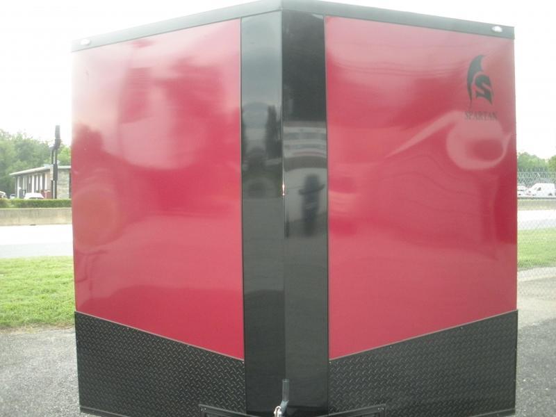 "Due in Spring 2021*2021 Spartan 8.5' X 20' 7K Burgundy.030 Metal Semi Screwless-24"" Black Tread Plate Sides and Rear-Black Trim Pkg.  Car / Racing Trailer"