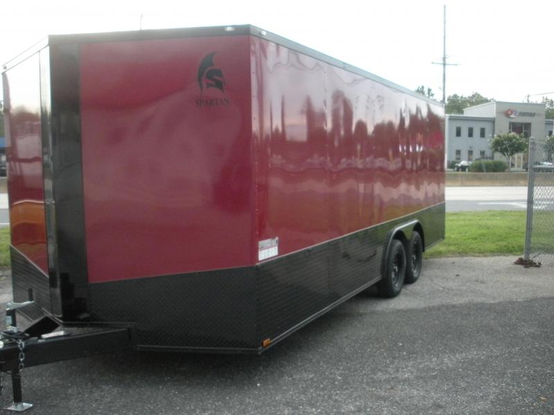 "2021 Spartan 8.5' X 20' 7K Burgundy.030 Metal Semi Screwless-24"" Black Tread Plate Sides and Rear-Black Trim Pkg.  Car / Racing Trailer"