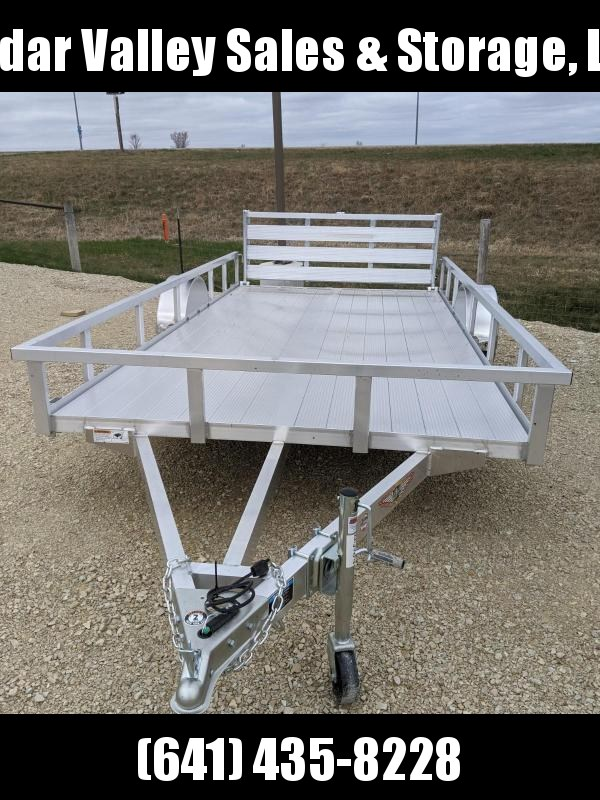 2021 H & H Trailer 82x14 Aluminum Rail Side Utility Trailer 3K Idler with Extruded decking