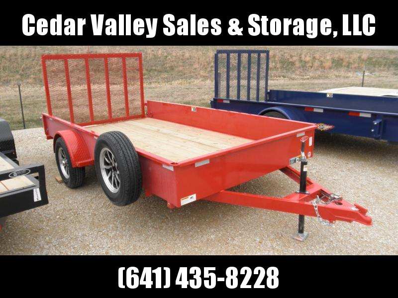 2021 H&H  76x12 RED Solid Side Utility Trailer 3K Aluminum Rims