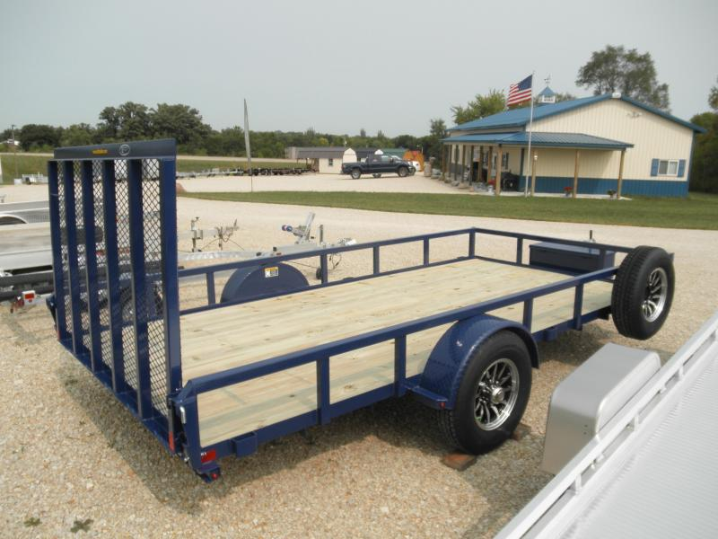 2021 H&H Trailer 82x14 Rail Side Utility Trailer 5K Brakes Blue and Aluminum Rims