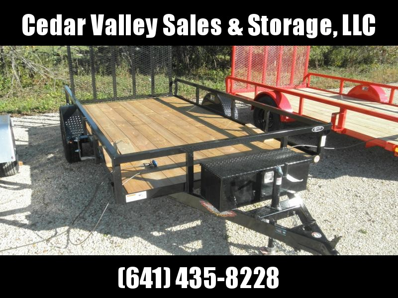 2022 H&H Trailer 76x12 Rail Side Utility Trailer 3K With Toolbox and Aluminum Rims