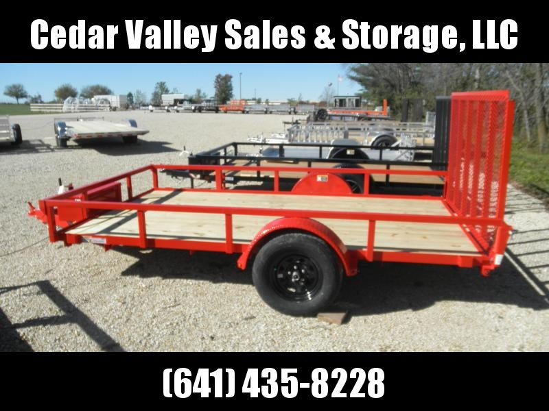 2022 H&H Trailer 82x12 Rail Side Utility Trailer Red with toolbox
