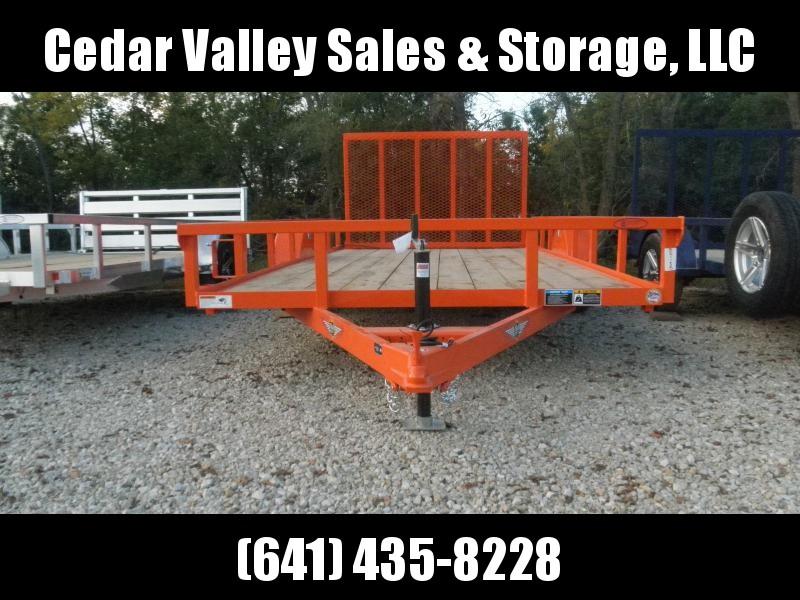 2022 H&H Trailer 82x14 Rail Side Utility Trailer 3K Idler Orange
