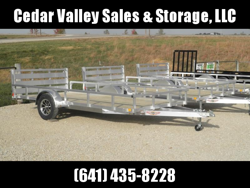2021 H&H 82x14 Aluminum Rail Side Utility Trailer with Toolbox