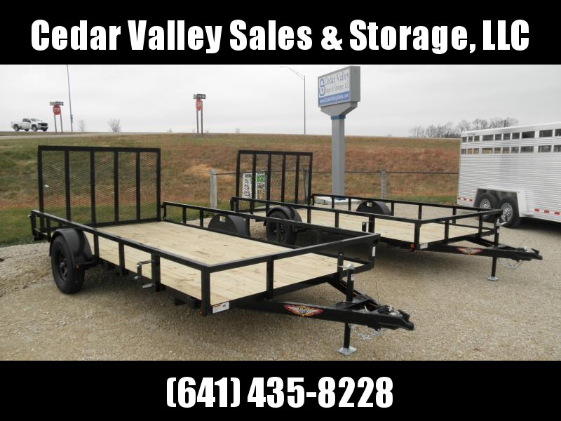 "2021 H&H Trailer 82"" x 14' Railside Utility Trailer - Perfect size for Rangers"