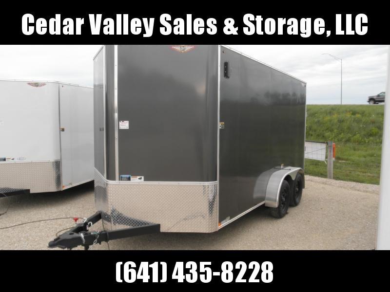 """2021 H&H 7x14 Cargo Trailer with 84"""" walls and 7K Charcoal"""