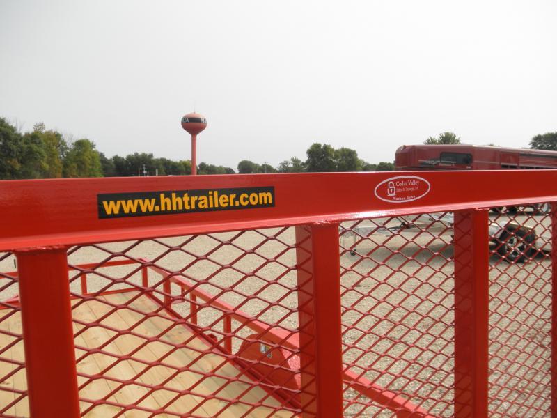 2021 H&H 82x14 Rail Side Utility Trailer in Red Super Sharp