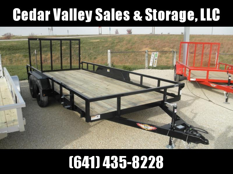 2021 H&H 82x16 Rail Side Utility Trailer 7K Tandem