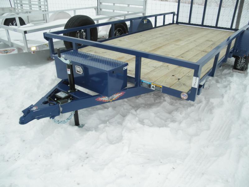 2021 H&H Trailer 82x14 Rail Side Utility Trailer 5K Brakes Blue and Aluminum Rims