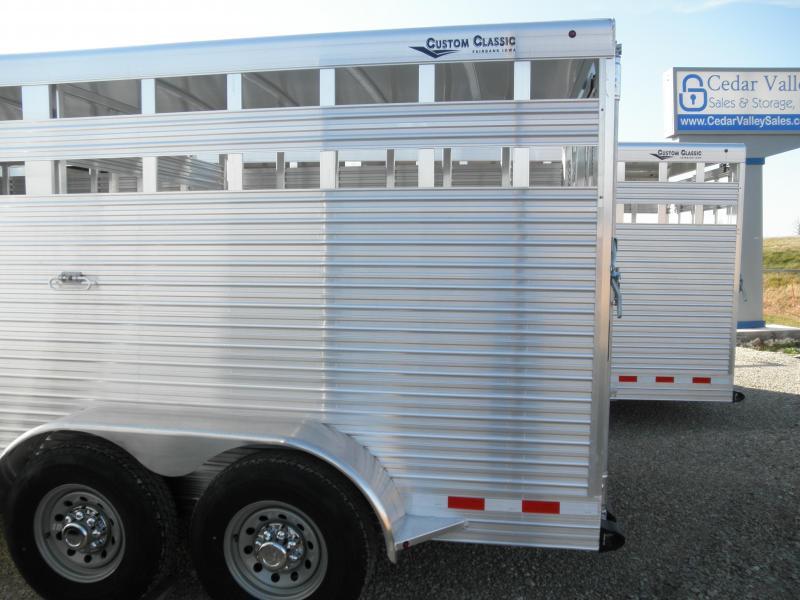 2021 Custom Classic 16 Ft Aluminum Bumper Pull Livestock Trailer