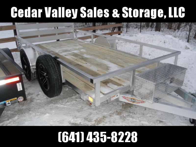 2021 H&H 76x12 Aluminum Rail Side Utility Trailer (H7612RSA-030) with Toolbox  and Spare