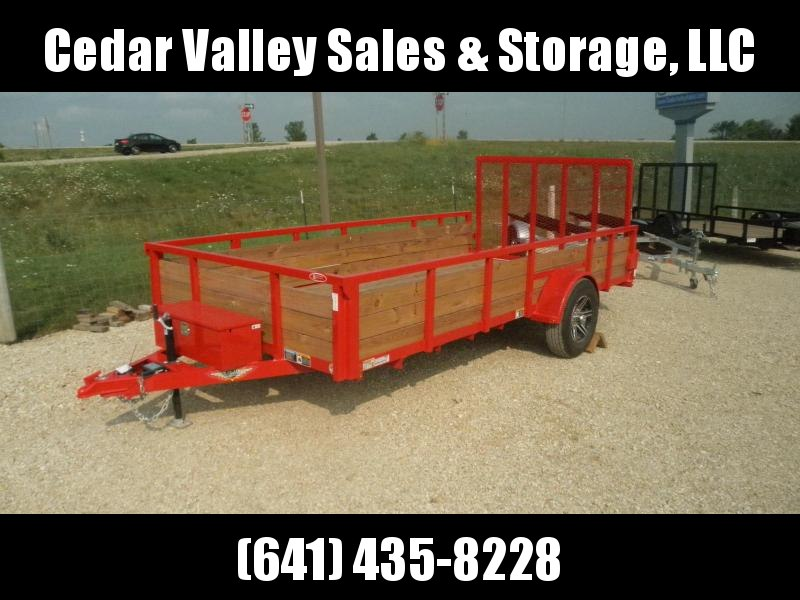 2021 H&H Red 82x14 Wood Side Utility Trailer 5K Brake (H8214WS-050)