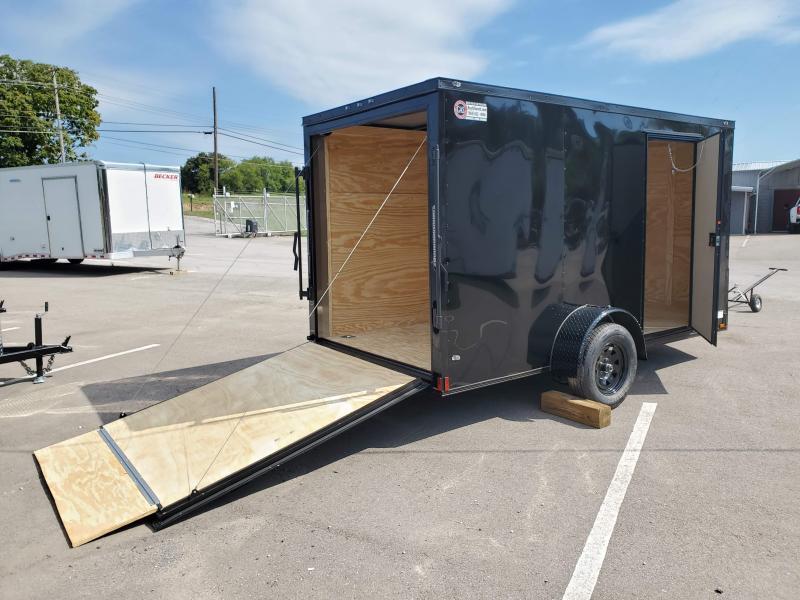 2022 Anvil 6x12 V-Nose Enclosed Trailer Ramp Door Black Blackout