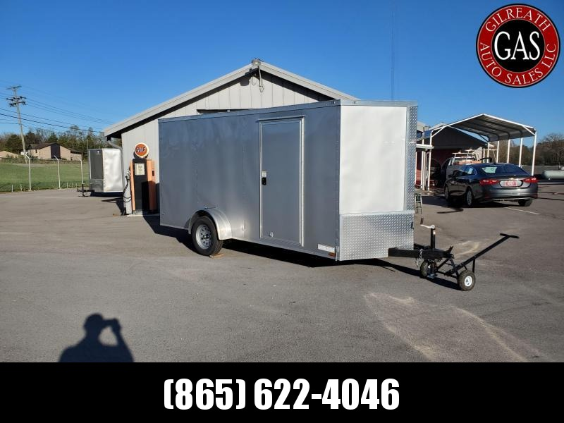 2021 Anvil 6x14 V-Nose Enclosed Trailer Ramp Door Silver