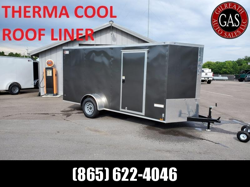 2021 Anvil 6x14 V-Nose Enclosed Trailer Ramp Door Charcoal Deluxe