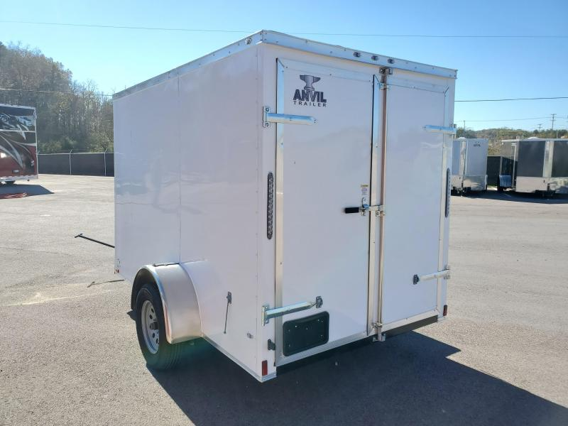 2021 Anvil 6x10 V-Nose Enclosed Trailer Swing Door White