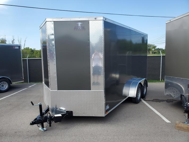 2022 Anvil 7x14x7 EXTRA HEIGHT Tandem Axle V Nose  Trailer Ramp Door White