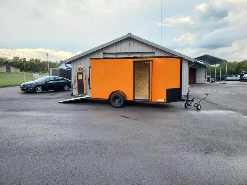 2021 Anvil 6x12 V-Nose Enclosed Trailer Ramp Door Orange Blackout