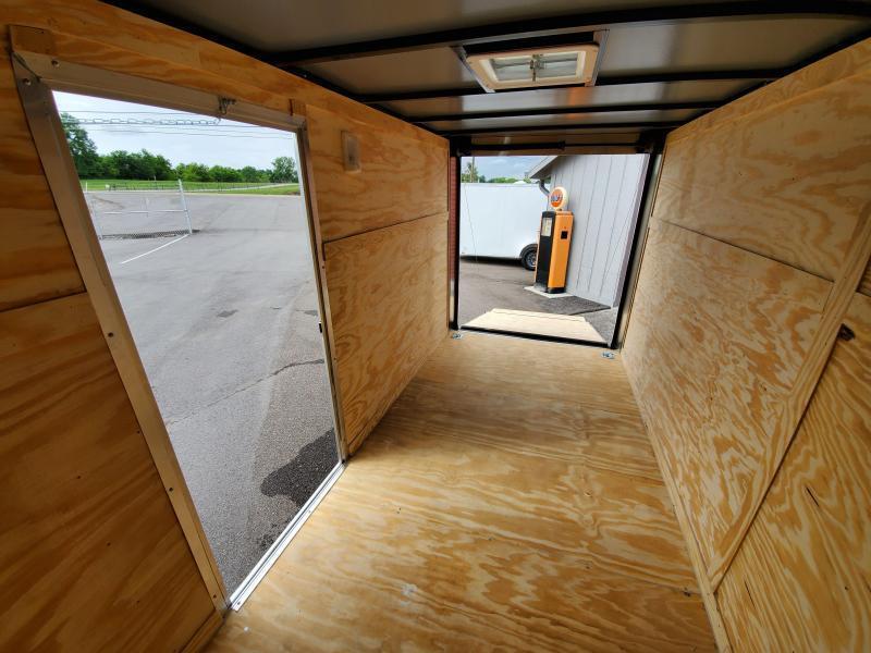 2021 Anvil 6x12 V-Nose Enclosed Trailer Ramp Door White